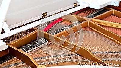 4K binnen van een grote pianohamers die terwijl de pianist speelt bewegen zich stock footage