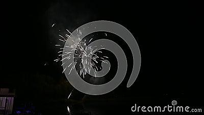 4 K ciclo sem descontinuidades de fundo de fogos de artifício reais borrão abstrato de fogos de artifício brilhantes de ouro filme
