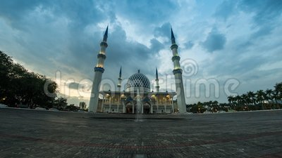 4K Cinematic Panning Left to Right Time Lapse Footage of Selangor State Mosque in Shah Alam, Malaysia. The mosque is also known as Masjid Sultan Salahuddin stock video