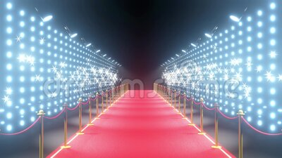4k 3D red carpet, barriers, blinking lights and flash lights animation stock video