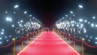 4k 3D red carpet, barriers, flash lights animation stock video