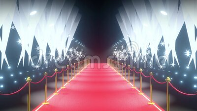 4k 3D red carpet, barriers, flash lights and stage lights animation stock video