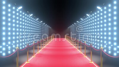 4k 3D red carpet, barriers with rope and blinking lights animation stock footage