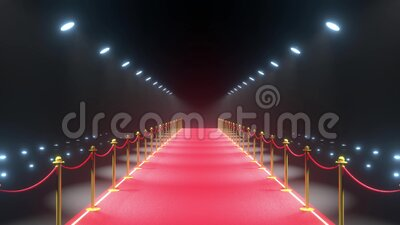 4k 3D red carpet, barriers with rope and lights animation stock video footage