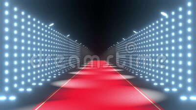 4k 3D red carpet and blinking lights animation stock video footage