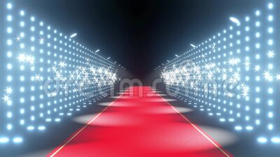 4k 3D red carpet, blinking lights and flash lights animation stock video