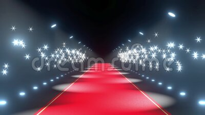 4k 3D red carpet, flash lights animation stock video footage