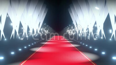 4k 3D red carpet, flash lights and stage lights animation stock video