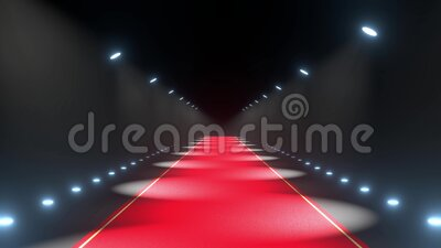 4k 3D red carpet and lights animation stock video footage