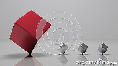 4k, 3d tournant le cube rouge en métal et le petit cube en métal trois, boucle sans couture banque de vidéos