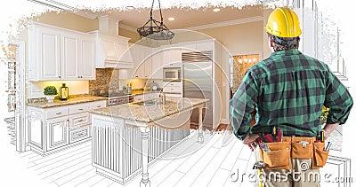 4k Entrepreneur faisant face à une cuisine personnalisée dessin en transition vers la photographie clips vidéos