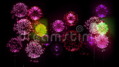 4K firework. Holidays fireworks. CG, 3d render. Version 38. Stock Photo