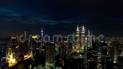 4k footage Aerial night view of buildings and landmarks centre Kuala Lumpur city at Kuala Lumpur, Malaysia. stock footage