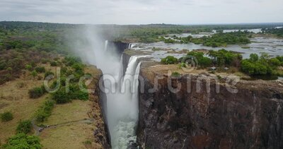 4K Footage of the Aerial View to the Victoria Falls, Simbabwe stock video