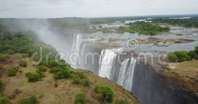 4K Footage of the Aerial View to the Victoria Falls, Simbabwe stock video footage