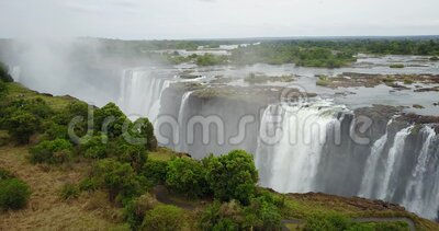 4K Footage of the Aerial View to the Victoria Falls, Simbabwe stock footage