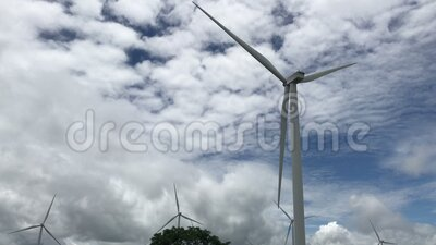 4K footage Wind energy turbines on sky view.Renewable electric Ecology energy clean source. Video Wind power Electricity generated. By electric inside turbine stock video footage
