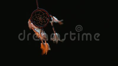 4k House Interior Decoration, Dreamcatcher. 4k House Interior Decoration on black background, Dreamcatcher stock video