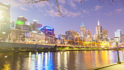 4k hyperlapse video along the Yarra River in Melbourne, Australia. Transiting from evening to night stock video footage