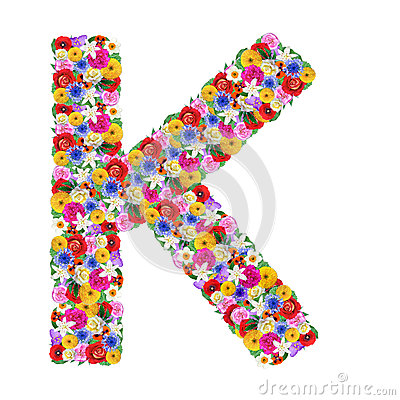 K Letter In Flower Letter Of The Alphabet In Different Flowers Royalty Free Stock ...