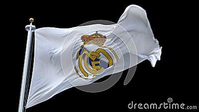 4k Madrid, Spanien, Meisterligaflagge von Real Madrid C f Fußballclub, nur redaktioneller Gebrauch stock video footage