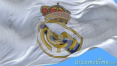 4k Madrid, Spanien, Meisterligaflagge von Real Madrid C f Fußballclub, nur redaktioneller Gebrauch stock video