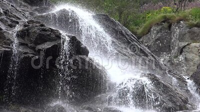4K Mountain River Waterfall Fall auf Mossy Felsen in Forest, Creek View in Holz stock footage