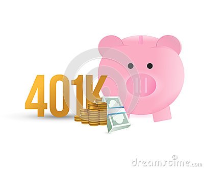 401k piggybank illustration design