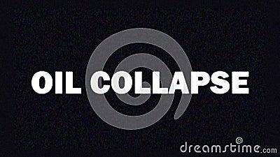 4 K Proteção de tela com falhas com texto OIL COLLAPSE 2020 para notícias e anúncios na tv Crise econômica mundial video estoque