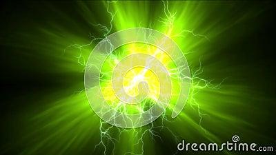 4k relâmpago atual abstrato, energia magnética do poder, fogos-de-artifício das partículas dos íons ilustração royalty free