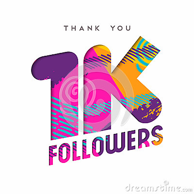 1k social media follower number thank you template Vector Illustration