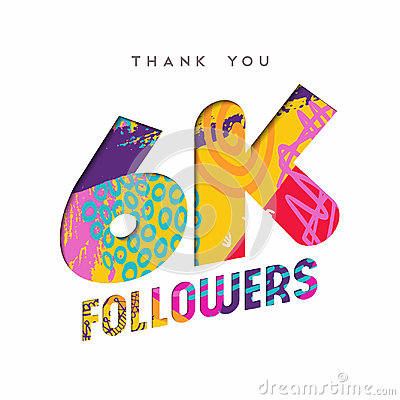6k social media follower number thank you template Vector Illustration