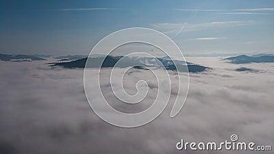 4K Time lapse clouds moving over tree highland forest. Foggy morning landscape Carpatian Ukraine.  stock video
