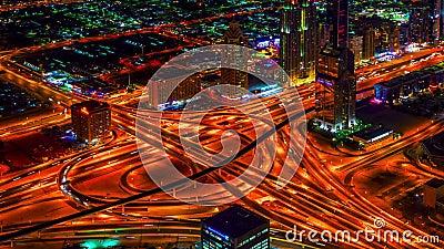 4K timelapse Εθνική οδός άποψης νύχτας πουλί-ματιών στο Ντουμπάι απόθεμα βίντεο