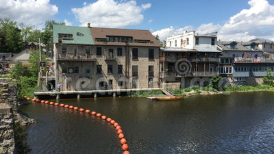 4K UltraHD Real time view of Elora, Canada riverfront. 4K UltraHD A Real time view of Elora, Canada riverfront stock footage