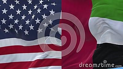 4k United States of America USA and United Arab Emirates National flag wind background. 4k seamless United States of America USA and United Arab Emirates royalty free illustration