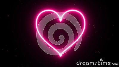 4K van de het Hartenergie van de animatieverschijning roze de vormvlam of brandwond op de donkere vonk als achtergrond en brand G royalty-vrije illustratie