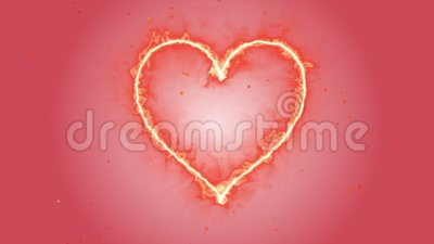 4K van de het Hartvorm van de animatieverschijning de de Rode vlam of brandwond op de rode of roze donkere vonk als achtergrond e royalty-vrije illustratie