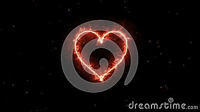 4K van de het Hartvorm van de animatieverschijning de vlam of de brandwond op de donkere vonk als achtergrond en brand Grafische  royalty-vrije illustratie