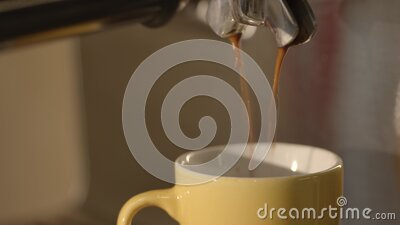 6k video double shot of espresso in a cup stock video
