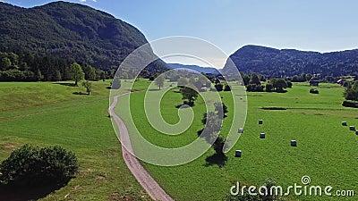 4K Vlucht boven groene vallei dichtbij Bohinj-Meer in de ochtend Weg aan het dorp van Stara Fuzina in Julian Alps Triglav NP stock video