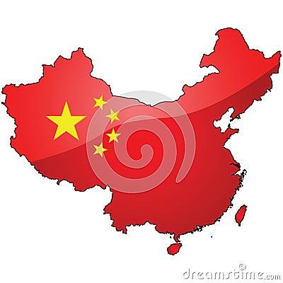 Kaart en vlag van China