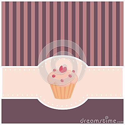 Kaart of uitnodiging met muffin cupcake en hart