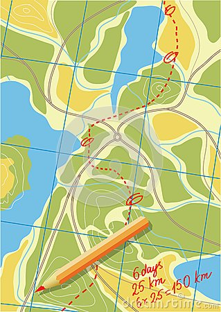 Kaart van reis op de bossen.