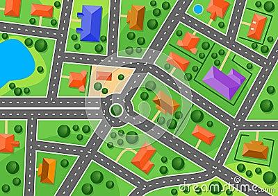 Kaart van voorstad of weinig stad