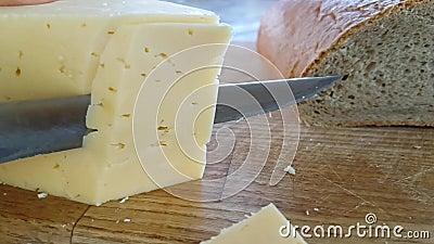 Kaas op houten traditionele die delicatessen van het raads heerlijke gedeelte met een slow-motion mes worden gesneden, stock videobeelden
