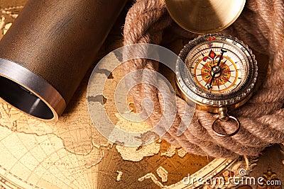 Kabel, kompas en kaart