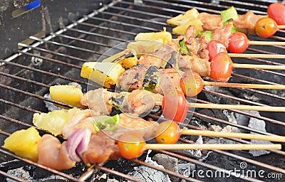 Kabob on BBQ grill
