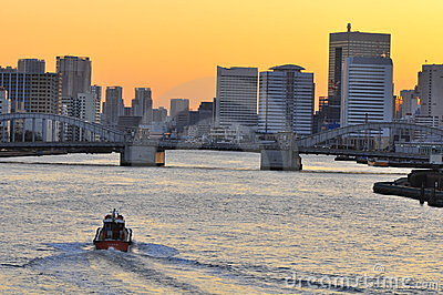 Kachidoki bridge in down town Tokyo , at sunset Editorial Image