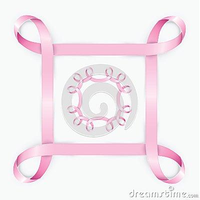 Kader van het realictic het roze lint kan voor webbanner kaart of uitnodiging worden gebruikt - Decoratief kader voor het leven ...